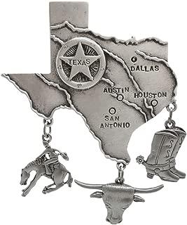 2 1/2 x 3 Texas Pin with Danglers, Vintage Jonette Jewelry, USA!