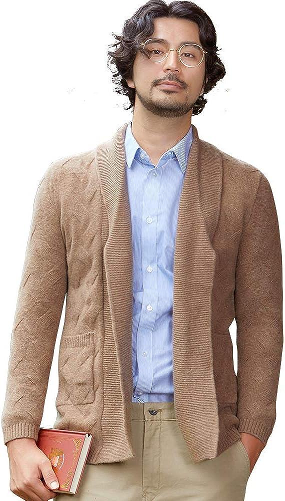 织礼 Zhili Men Shawl Collar Open Front Merino Wool Cardigan Sweater with Pockets