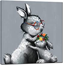 sechars - Animal Canvas Wall Art Rabbit with Glasses Bunny Painting Art Prints Modern Artwork for Baby Room Bedroom Grey Home Decorations Ready to Hang