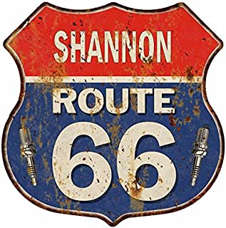 Shannon Route 66 Personalized Shield Metal Sign Man Cave 14.5 x 14.5 Matte Finish Metal 115150002438