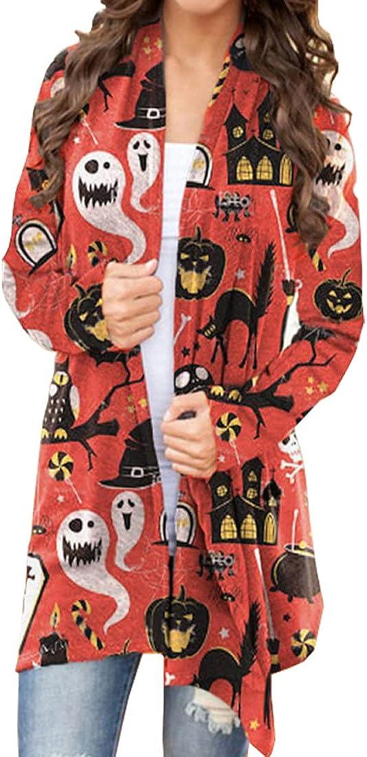 Halloween Cardigan for Women, Long Sleeve Open Front Cardigan Sweater for Woman Funny Pumpkin Print Lightweight Coat