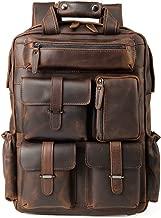 Men's Vintage Classic Leather Travel Weekender Casual Outdoor School Multi-pockets Case 15.6 Inch Laptop Luggage Suitcase Daypack Overnight Backpack Shoulder Bag Tote Handbag Brown