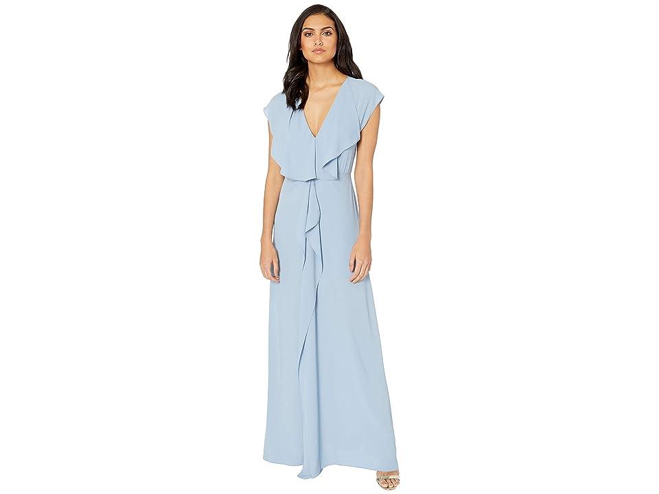 BCBGMAXAZRIA Evette Short Sleeve Dress with Front Drape (Shadow Blue) Women