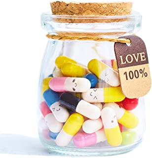 Running Ant Message In a Bottle Capsule Letter 50 Pcs Cute Smiling Face Love Friendship Half Color Pill