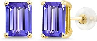 3.80 Ct Emerald Cut 8x6mm Blue Tanzanite 14K Yellow Gold Stud Earrings