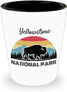Retro Yellowstone Shot Glass National Park USA Road Trip
