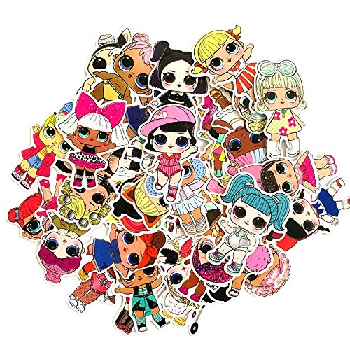 FENGLING 2019 Waterproof Personality LOL Doll Stickers Children's PVC Graffiti Stickers Suitcase Car Boot Guitar 50Pcs