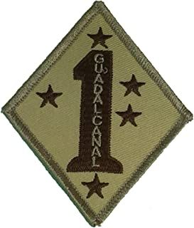 USMC 1ST MARINE DIVISION GUADALCANAL UNIT Patch - Desert/Tan - Veteran Owned Business.