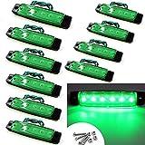 VIGORFLYRUN PARTS LTD 10x 3.8 6 LED Luce Laterale da Camion Indicatore LED Lampada di Posizione, per 12V Rimorchio Camion Furgone Rimorchi Auto Trattore Camper SUV - Verde