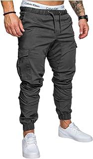 pipigo Mens Casual Plus Size Solid Cotton Elastic Waist Straight Leg Pants Trousers 4 4XL