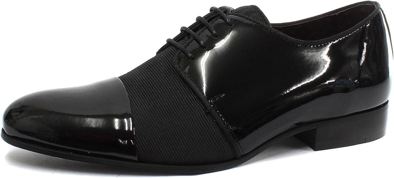 London Brogues Alton Black Patent Mens Lace Up Dress shoes
