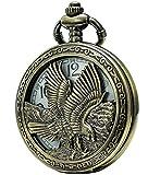 SEWOR bronzo del Giappone movimento al quarzo Orologio da tasca con doppia catena (metal & Leather) (Aquila)