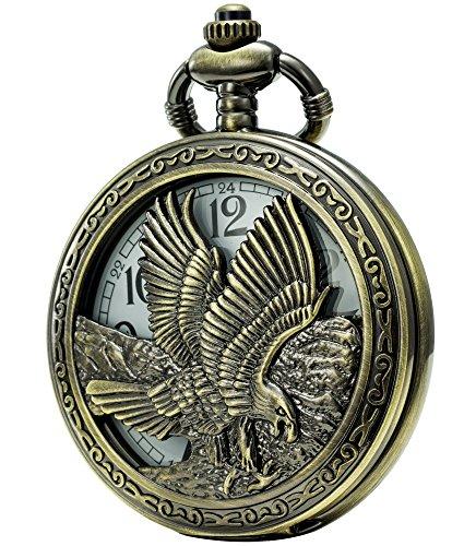 SEWOR Unique Design Japanese Quartz Gears Reloj de Bolsillo con Cadena Doble (Metal y Cuero) (Águila)