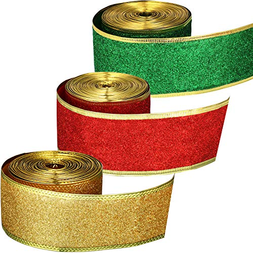 3 Rolls Christmas Ribbon 2 Inch Shimmer Ribbons Glitter Gift Wrapping Ribbons with Gold Wired Edge for DIY Craft, 33 Yards Totally