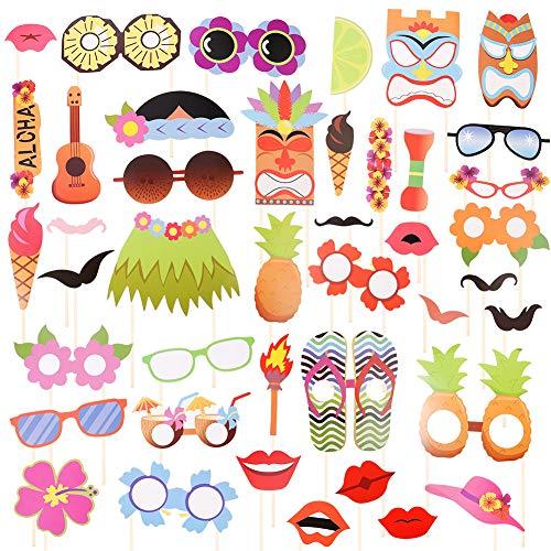 Set di 60 accessori per foto Hawaii, per estate, spiaggia, vacanze, compleanni, matrimoni, monete, occhiali, booth