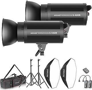 Neewer Kit d'Illuminazione 800W Strobo Flash & Softbox: (2) 400W Flash Monoluce (S-400N) (2)Riflettore con Attacco Bowens (2)Cavalletto (2) Softbox (1) RT-16 Trigger (1)Borsa