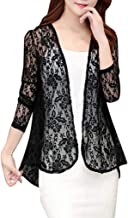 RAINED-Women's Lace Crochet Cardigans Long Sleeve Open Front Cover Up Jacket See Through Beach Kimono Elegant Outwear