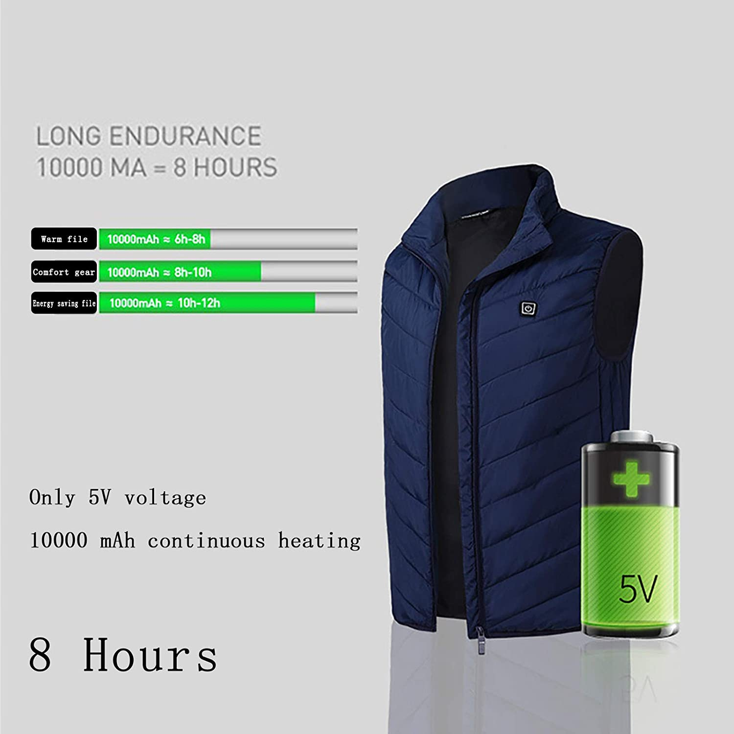 Upgrade Unisex Warming Heated Vest Waistcoat for Outdoor Camping Hiking