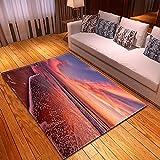 DRTWE Alfombra,Teppich,Velvet Area Rug For Living Room Red Seascape Printed Large Size Anti-Skid Fluffy Shaggy Rug Bedroom Doorway Carpet Nursery Play Pad Carpet Runner,50 * 80Cm