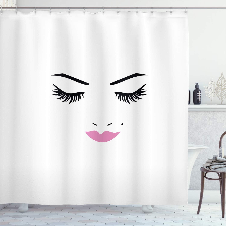 ambesonne eyelash shower curtain closed eyes pink lipstick glamor makeup cosmetics beauty feminine design cloth fabric bathroom decor set with