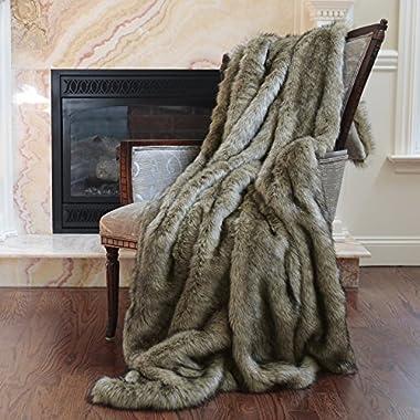 Best Home Fashion Faux Fur Throw - Lap Blanket - Tawny Fox - 58 W x 36 L - (1 Throw)