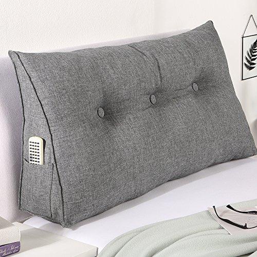 maxVitalis Rückenkissen, Bett-Rückenstütze Keilform, Rückenstützkissen, für Bett & Sofa, 100 cm breit, ideal für 2 Personen, praktisches Seitenfach, Bezug waschbar (Grau)