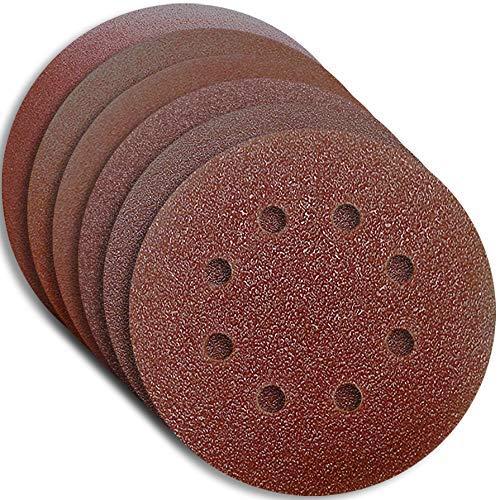 120 X HKB Schleifscheiben, Exzenter ø 125mm 8 Loch, je 20 x Korn 40,60,80,120,180,240, Korund, Profi-Qualität für verschiedene Oberflächen, universell einsetzbar, Artikel-Nr. 20124