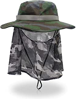 0a2a312a RGANT Camouflage Mosquito Fisherman Hat,Summer Sun Hats Boonie Nylon & Mesh  for Fishing Hiking