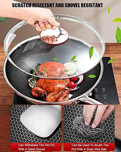 Pan no stick, 304 Pantalla completa de honeycomb Wok de acero inoxidable, cacerola de cocina for el hogar sin recubrimiento, adecuado for todo tipo de cocina fácil de limpiar (Size : 32CM)