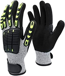 Safety Adjustable Cuff Impact Resistant Cut Resistant Gloves, (Color : Black, Size : XS)