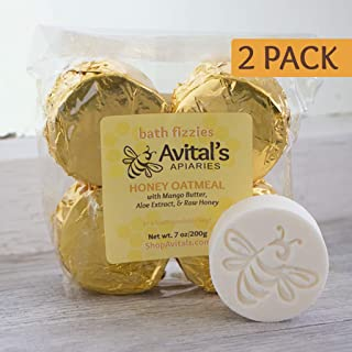 2 packs of 4 each Honey & Oatmeal Bath Bombs with Lavender & Lemongrass Essential Oils