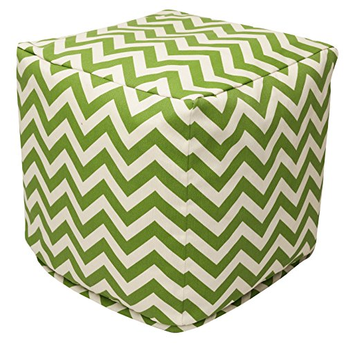 "Majestic Home Goods Sage Chevron Indoor/Outdoor Bean Bag Ottoman Pouf Cube 17"" L x 17"" W x 17"" H"
