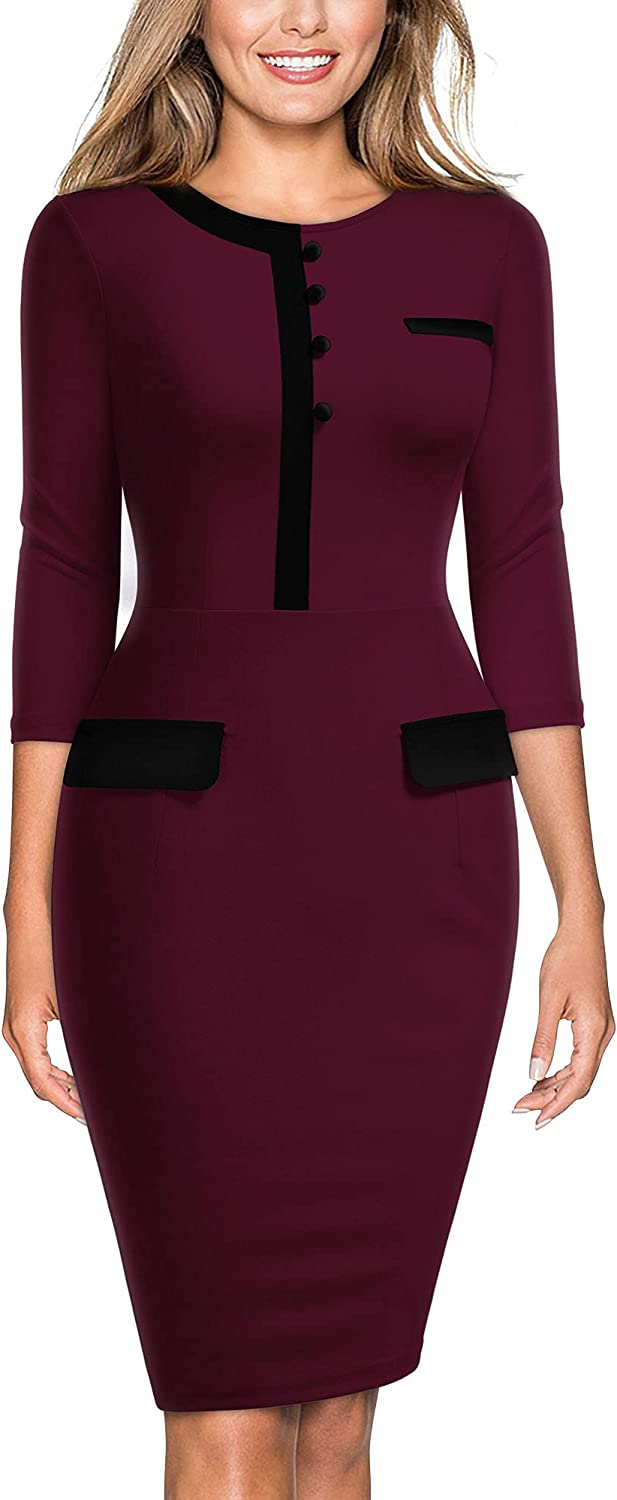 Miusol Women's Official Retro Style 2/3 Sleeve Business Pencil Dress