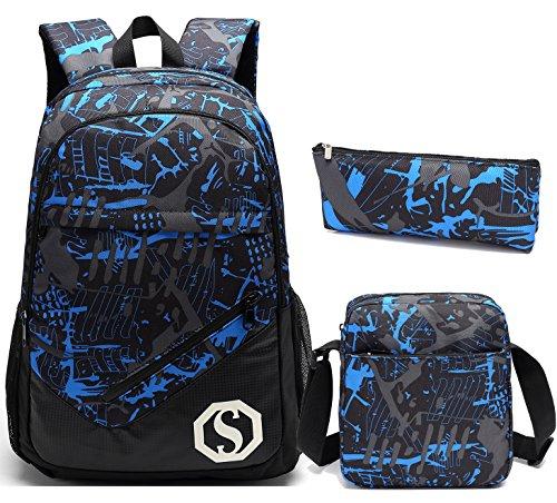 School Backpacks for Boys Girls Bookbag Teens Backpack Set with Shoulder Bag and Pencil Case (Blue 1)