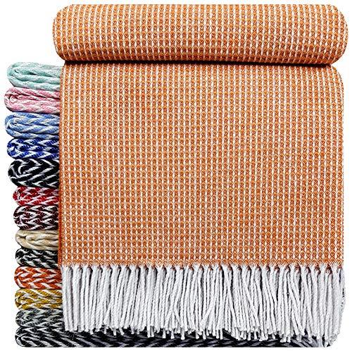 STTS International Baumwolldecke sehr weiches Plaid Wohndecke Kuscheldecke Baumwolle 140 x 200 cm Marbella Orange