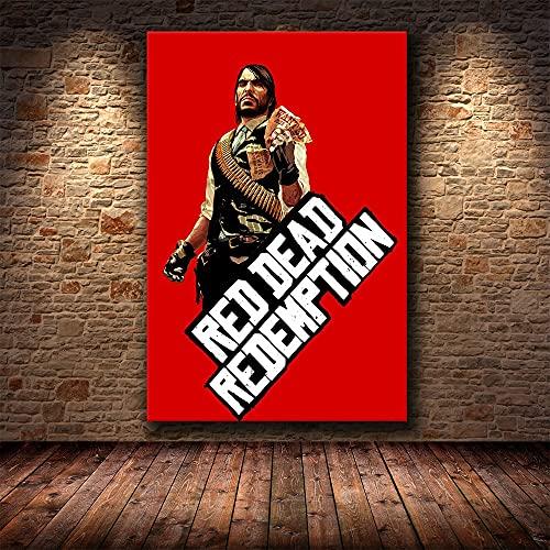Red Action Adventure Game Redemption Dead Sharpshooter Arthur Morgan Canvas Painting Wall Art Poster Boy Fans Dormitorio Sala de juegos Club Decoracin para el hogar Mural