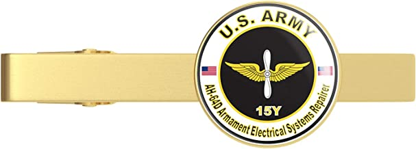 HOF Trading Gold U.S. Army MOS 15Y AH-64-D Armament Electrical Systems Repairer Gold Tie Clip Tie Bar Veteran Gift