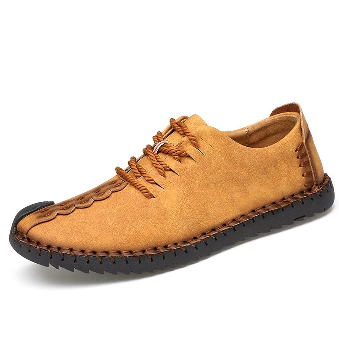 汚す懸念再生可能[メイオウ] メンズ カジュアルシューズ デッキシューズ 革靴 メンズ 手作り ローカット ワークブーツ オックスフォードの靴 カジュアルシューズ ファッションスニーカー レースアップシューズ 通勤用 防滑24.0cm~28.0cm
