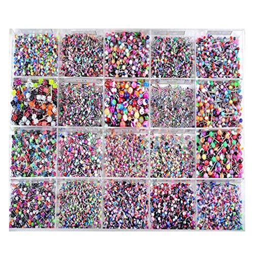 Minkissy 100 Stück Zungenring Langhanteln Nippelringe Mischen Acrylkugel Stahl Körper Piercing Schmuck Augenbrauen Zungenlippe Und Mehr mit Aufbewahrungsbox Zufällige Farbe