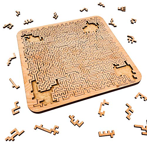 "Mind Bending Wooden Jigsaw Puzzle | Aztec Labyrinth | Expert Level Difficult Puzzles for Adults and Kids | 200 Pieces | 11.3"" x 11.3"""