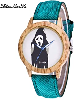 SuSip Halloween Decorations Halloween Watch Witch Blue Needle Wood Grain Dial Denim Strap Watches Casual Watch New