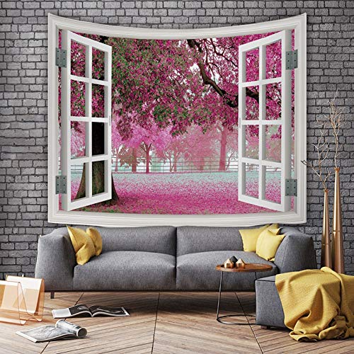Simple modern window scenery tapestry art tapestry outside the window city night view room background cloth a21 150x200cm