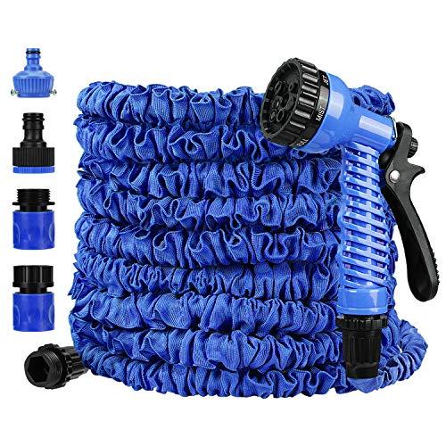 Redmoo tuinslang, flexibele slang waterslang 7,5 m/25 ft uitgerekt, rekbare tuinslang met 7 multifunctionele sproeikop, extra sterk weefsel, knikvrij flexibele tuinslang (blauw)