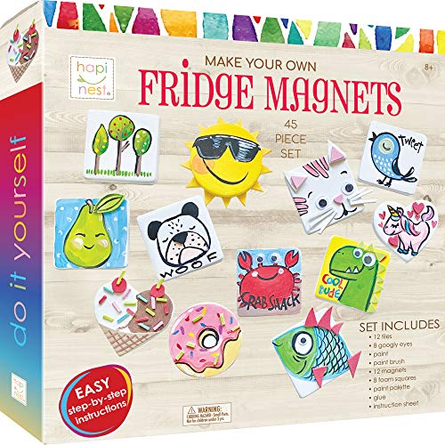 Hapinest DIY Mini Tile Fridge Magnet Arts and Crafts Kit Gifts for Kids Girls Boys Ages 8 9 10 11 12 13 Teen Years and Up