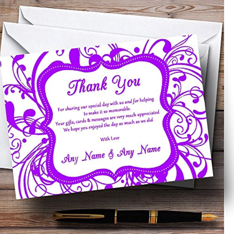 White & Purple Swirl Deco Personalised Wedding Stationery Thank You Cards