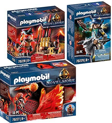 Playmobil® Novelmore 3er Set 70227 70228 70229 Burnham Raiders Feuergeist und die Hüterin des Feuers + Feuerwerkskanonen und Feuermeister + Novelmore Armbrustschütze mit Wolf