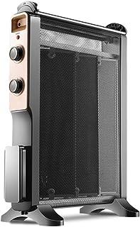 GY Calefactor eléctrico portátil con convectores sin Aceite, radiador de Mica con termostato Regulable, Temporizador 2H, 3 ajustes de Calor 800-2200 W, Negro, Negro, 41 * 22 * 62cm