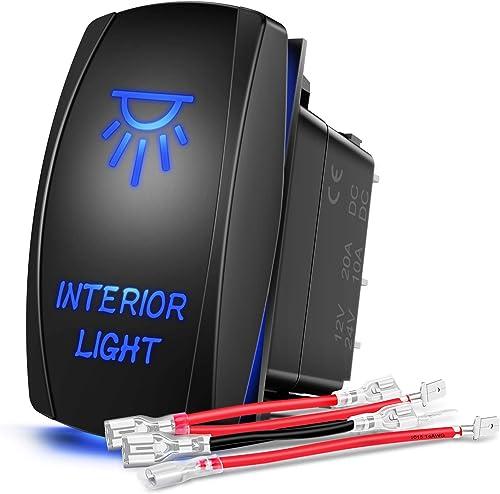 lowest Nilight 90002B Interior Light Rocker Switch LED Light sale Bar 5Pin Laser On/Off LED new arrival Light 20A/12V 10A/24V Switch jumper wires set for Jeep Boat Trucks,2 years Warranty outlet sale