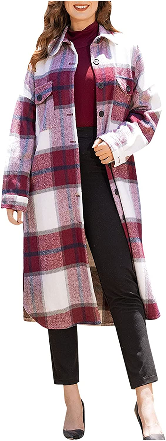 Women's Max 45% OFF Lapel Long Sleeve Plaid Easy-to-use Pocket Casual Shirt Jacket Butto