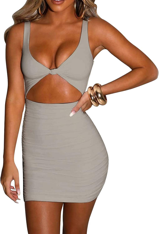 Women Sexy Bodycon Cut Out Dress Deep V Neck Tank Sheath Mini for Date Party Club Night
